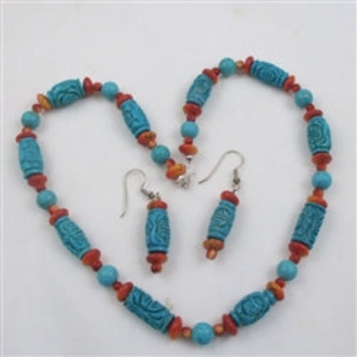 Turquoise & Cinnabar Necklace % earrings