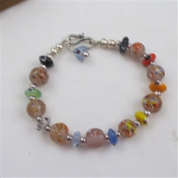 Whimsical multi-colored multi-style handmade bead childs bracelet