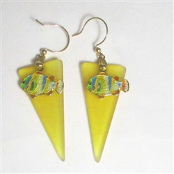 Buygold sea glass earring gold fish charms