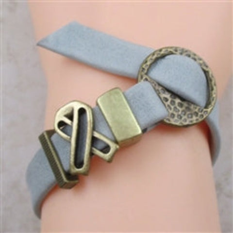 Unisex classic grey leather cord bracelet with antique gold buckle clasp & awareness ribbon