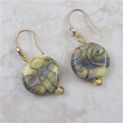 Handmade Cream Artisan Bead and Gold Earrings