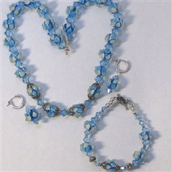 Aqua artisan beaddesigner's set necklace, bracelet & earrings