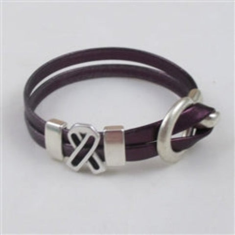 Best buy purple awareness ribbon leather bracelet