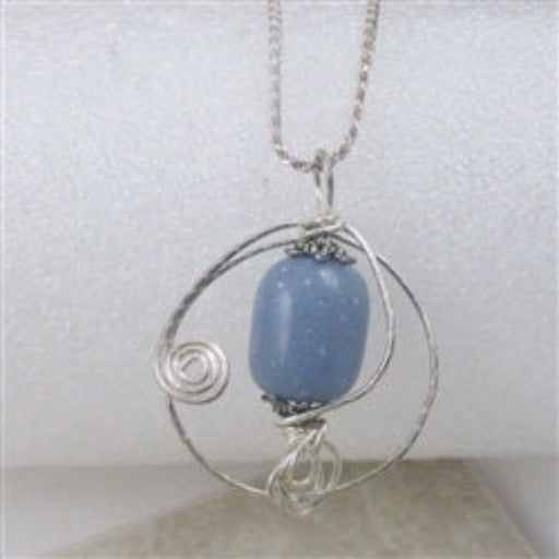 Angelite gemstone wrapped in silver on a silver chain