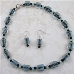 Aqua & black artisan bead necklace & earrings