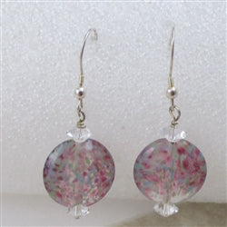 Handmade artisan bead pink earrings