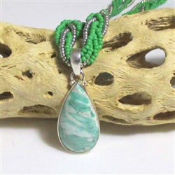 Buy vasonite gemstone pendant on a green & silver multi-strand necklace necklace online