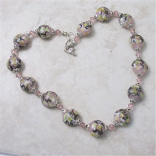 Handmade pink artisan bead necklace