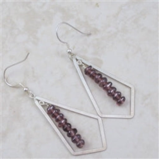 Classic and dangling amethyst gemstone and sterling silver earrings