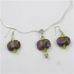 Purple artisan bead pendant & earrings