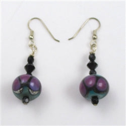 Handmade artisan bead earrings in purple & black