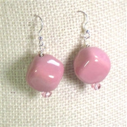 Best buy in pink Kazuri earrings made with fair trade beads from Kenya