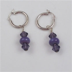 lilac handmade artisan bead earrings