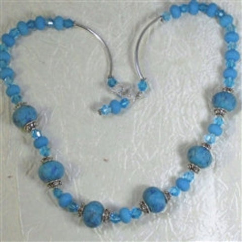Buy aqua blue handmade artisan bead necklace