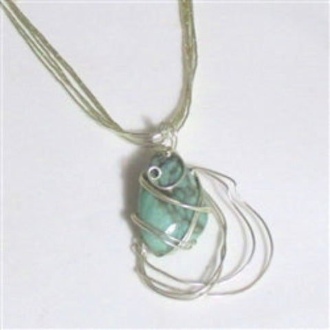 Hand Wire Wrapped Gemstone pendant on sterling silver necklace