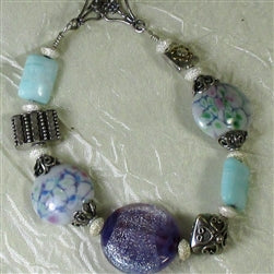 buy handmade artisan purple and aqua bead bracelet