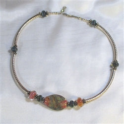 Handmade peach artisn bead & sterling silver necklace