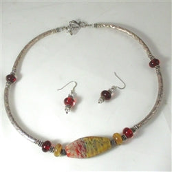 Red and Amber handmade artisan bead & silver necklace & earrings