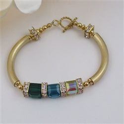 gold bangle bracelet with Swarovski crystal cubes