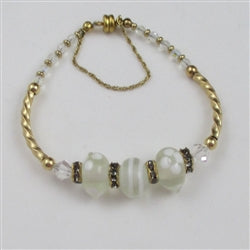 white artisan bead bangle bracelet