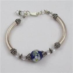 blue handmade artisan bead bangle bracelet