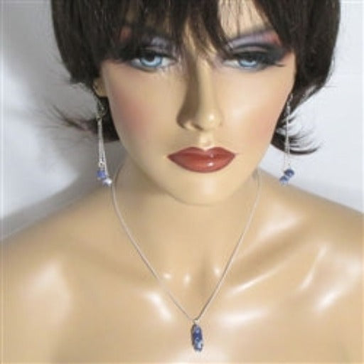 Classic gemstone sodalite pendant on silver chain with matching earrings