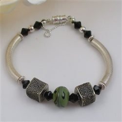 green artisan bead bangle bracelet