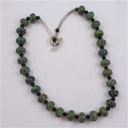 Buy Green bead necklace in handmade beads