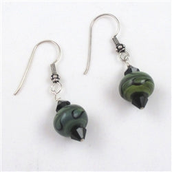 Earthy mossy green bead earrings