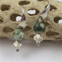 Classic rain forest jasper and silver earrings