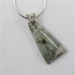 Designer cut rain forest jasper pendant on a sterling silver chain