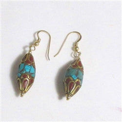 Turquoise & coral bead  earrings