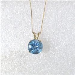 Classic Round London Blue Topaz Pendant on Gold Chain