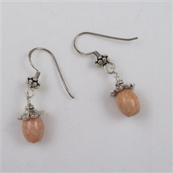 Pink marble and silver earrings
