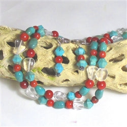 Turquoise Nugget Double strand Necklace & Earrings