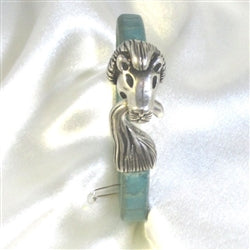 Man's teal leather bracelet with lion silver clasp