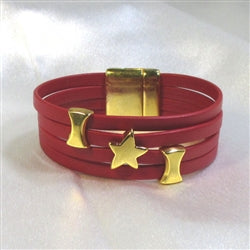 Wide cuff bracelet in red leather  woman's