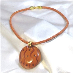 Delightful handmade fair trade kazuri pendant on braided leather necklace