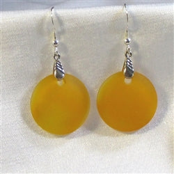 Goldenrod  sea glass coin drop earring on silver ear wires