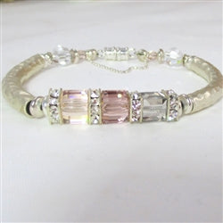 silver bangle bracelet with Swarovski crystal cubes
