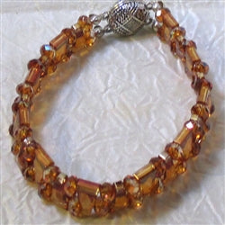 Golden Copper Swarovski Crystal Cuff Bracelet