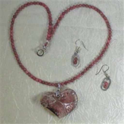 Buy online only pink crystal heart pendant on pink gemstone bead necklace  earrings