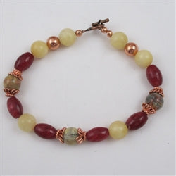 Crazy lace agate and copper gemstone bracelet