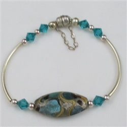 Artisan Blue handmade bead & silver bangle bracelet