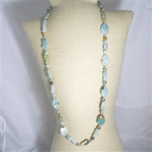 Buy aqua amazonite gemstone bead extra long big bold necklace