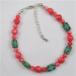 Pretty bright pink coral anklet for the summertime