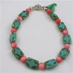 Coral and green picasso  bead bracelet gemstone