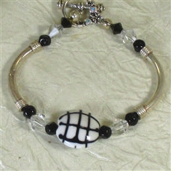 Buy black and white bangle bracelet handmade bead