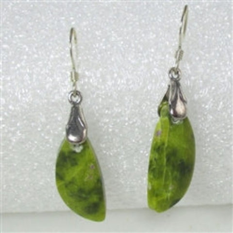 Buy designer cut atlantisite green gemstone earrings