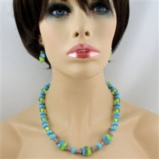 Buy aqua & line artisan bead necklace